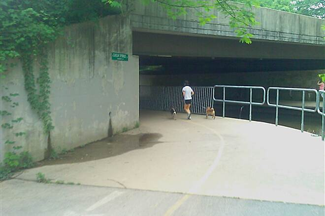 Washington and Old Dominion Railroad Regional Park (W&OD) Underpass at Carlin Spring Road Trail going under Carlin Springs road