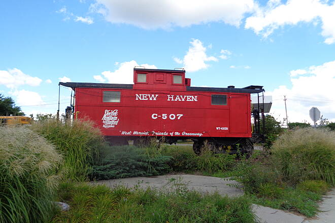 Washington Secondary Bike Path Caboose at West Warwick, RI Caboose on display next to the rail at West Warwick, RI 9/2/16