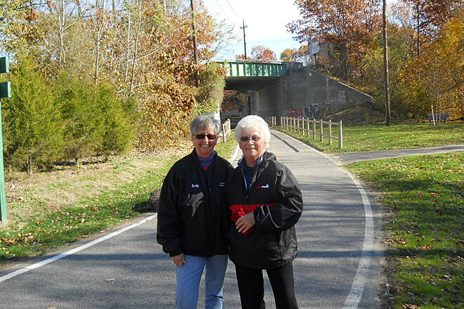 Washington Secondary Bike Path Walkers on the Greenway These two are regular walkers on the path. They made sure every hair was in place before I took this photo. Two very nice ladies of Coventry.