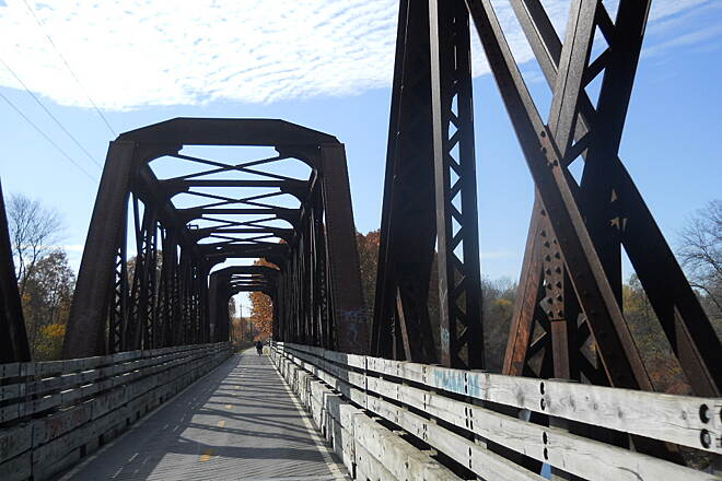Washington Secondary Bike Path RR Bridge Rail Road bridge crossing the Pawtuxet River South Branch near Cranston R.I.