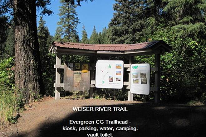 Weiser River National Recreation Trail WEISER RIVER TRAIL - EVERGREEN SECTION This trailhead is in the Evergreen campground at site 4