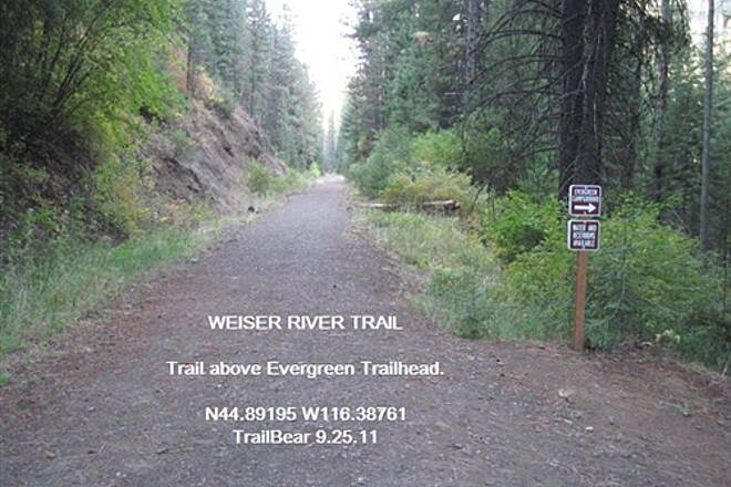 Weiser River National Recreation Trail WEISER RIVER TRAIL - EVERGREEN SECTION The trail above the campground