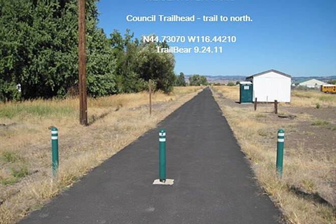 Weiser River National Recreation Trail WEISER RIVER TRAIL Trail to north at Council.  Note portapotty.