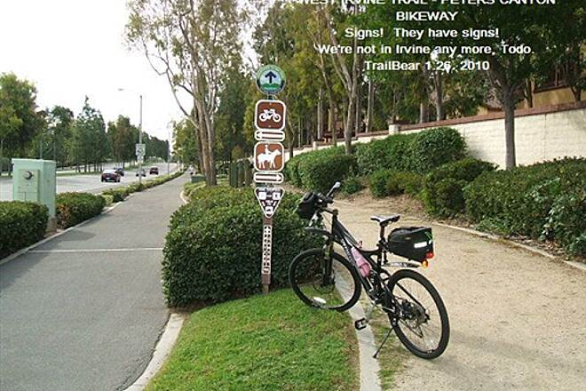 West Irvine Trail WEST IRVINE TRAIL - PETERS CANYON BIKEWAY Signs!  Real trail signs!