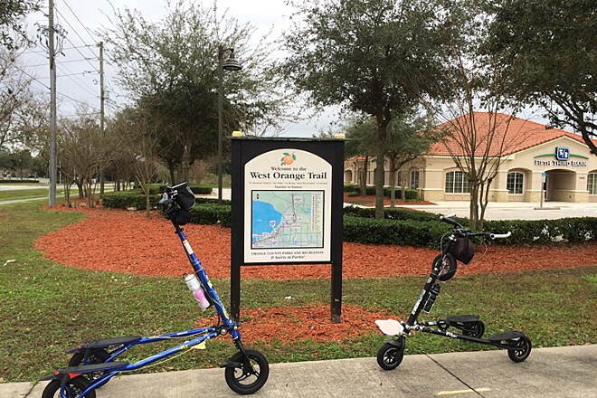 West Orange Trail Ready to Trikke from the North This photo was taken as we prepared to start our Trikke ride from the northern end of the trail.