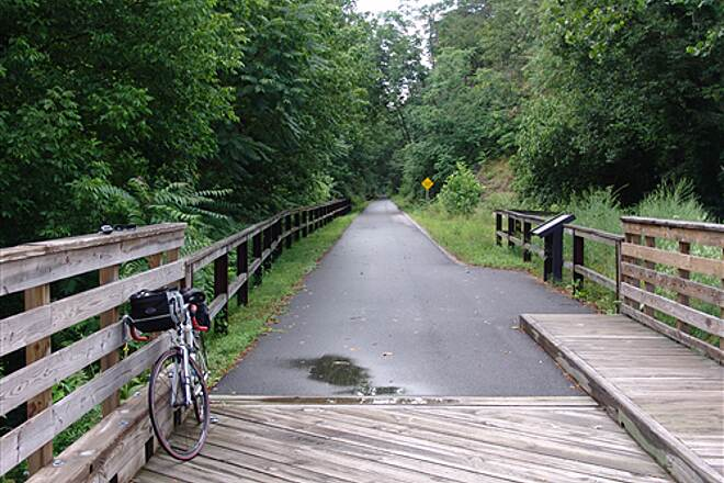 Western Maryland Rail Trail Bike on Bridge Bike on Bridge