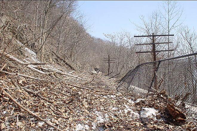Western Maryland Rail Trail Trail Damage Snow slides from the February l1, 2003 snow storm at mile marker 13.8. Trail damage should be repaired by Memorial Day 2003.