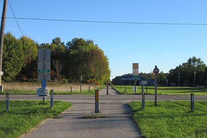 Western Reserve Greenway at Route 322 in Orwell Trail crosses 322 in Orwell OH