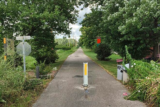 Western Reserve Greenway Northern Terminus This is the start of the Western Reserve Greenway at W. 52nd Street in Ashtabula, Ohio. This trail heads south toward Warren, Ohio.  July 29, 2017.