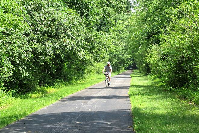 Western Reserve Greenway Cyclist Along the Trail July 2019, cyclist along the trail