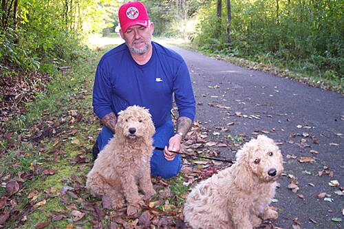 Western Reserve Greenway Rick Walks his 2 Goldendoodles, Elwood and Jake On The WRGW  Cute ! Rick Walks his 2 Goldendoodles, Elwood and Jake On The WRGW Cute !