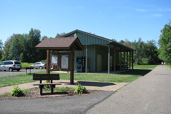 Western Reserve Greenway Parking Lot/Picnic Shelter Parking lot and picnic shelter at the Sunside Trailhead.  Nice large parking lot, picnic shelter and porta potty there.