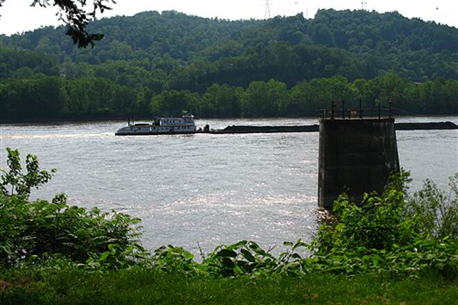 Wheeling Heritage Trails Greater Wheeling Trail A barge on the Ohio River.