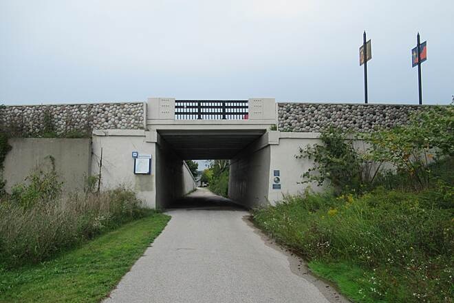 White Lake Pathway Tunnel under Colby Street Heading North approaching the tunnel which goes under Colby Street in Whitehall.