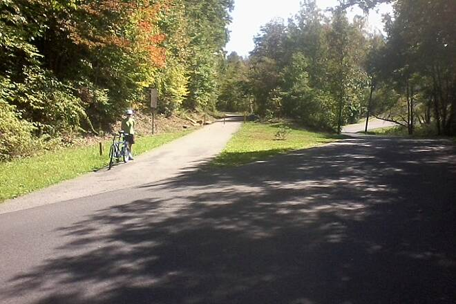 White Oak Rail Trail (WV) Oak Hill Junction End of middle spur which was the junction for the Virginian Railway whose tracks (now NS) are around .25 mile behind photographer along Rte. 61.