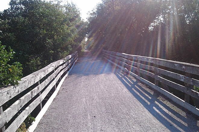 White River State Trail WRT bridge Sunrise going east toward Burlington!