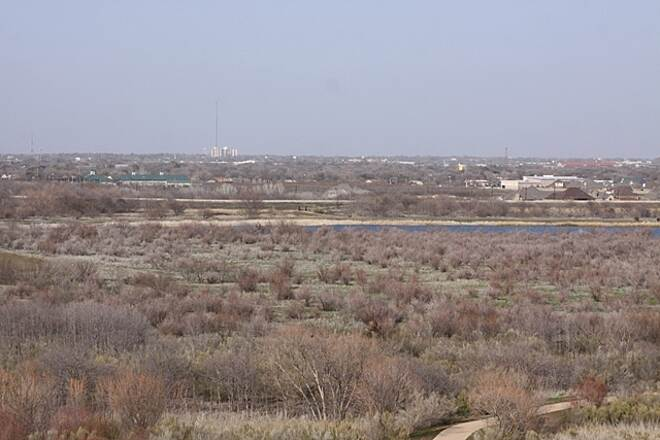 Wichita River and Holliday Creek Trails Part of the 14.88 Mile Wichita River & Holiday Creek Trail by Lake Wichita Side. From the top of the hill looking toward Wichita Falls.