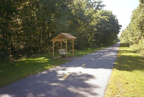 William C. O'Neill Bike Path Rest Area There are quite a few areas to rest. Park benches have been donated by various civic groups.