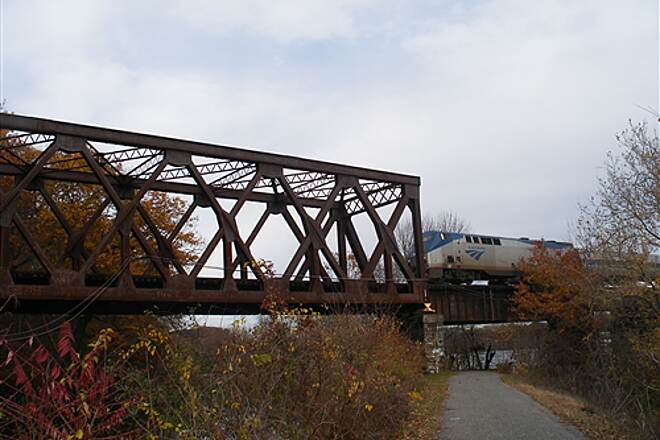 Windsor Locks Canal State Park Trail train on trestle caught train passing by