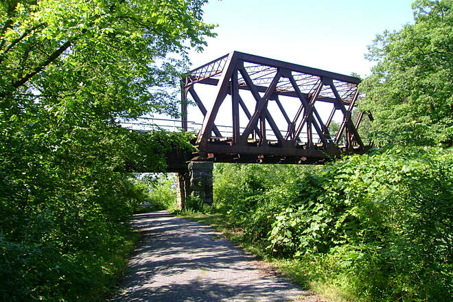 Windsor Locks Canal State Park Trail Railroad bridge on the canal trail