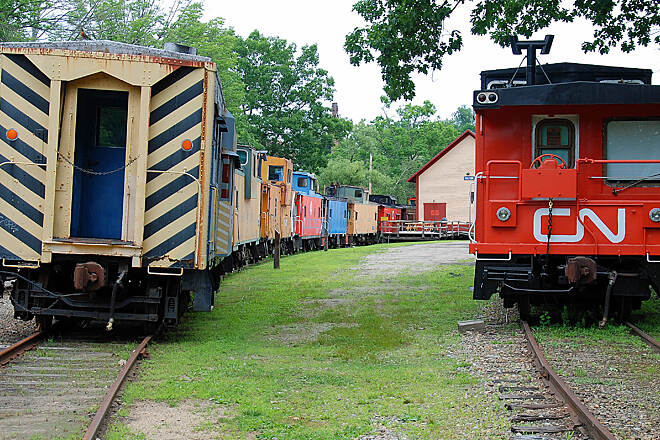 Winnipesaukee River Trail Railroad Cars Railroad cars at the end of the trail in Northfield.
