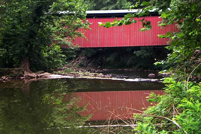 Wissahickon Valley Park Trail System Forbidden Trail Covered Bridge