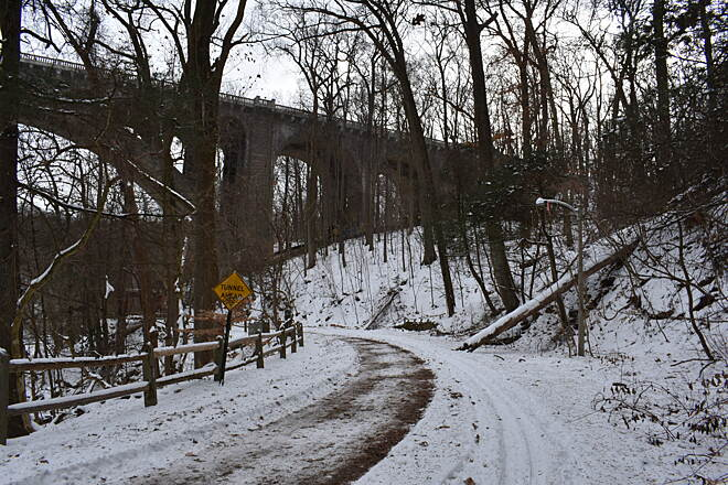 Wissahickon Valley Park Trail Winter 2018  Approaching the Walnut Lane Bridge
