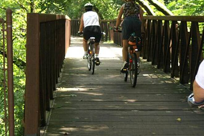Wissahickon Valley Park Trail Old Bridge Riders from sojourn crossing bridge