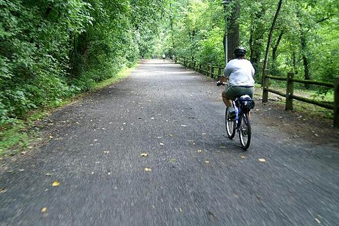 Wissahickon Valley Park Trail Wide Path Wide and smooth surface for bikers and joggers