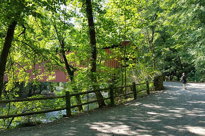 Wissahickon Valley Park Trail The Covered Bridge And The Trail Location just west of Valley Green.  A beautiful summer day on the trail.