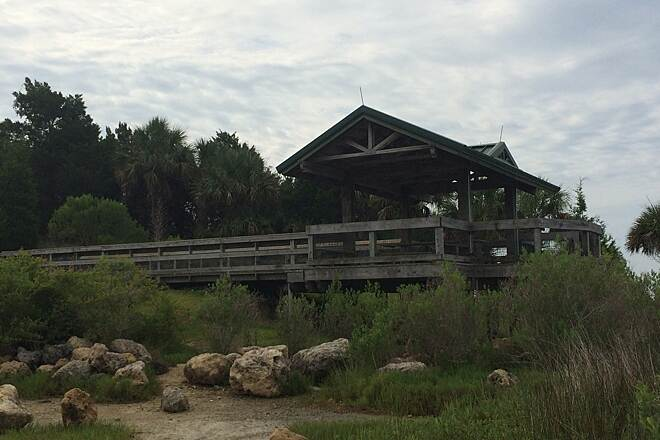 Withlacoochee Bay Trail Gazebo from the water front After this was taken I THEN saw the alligator caution sign!