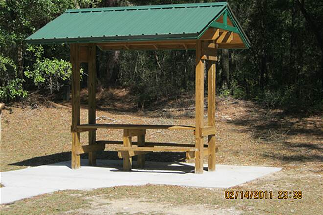 Withlacoochee State Trail   You'll find many sturdy shelters like this one.