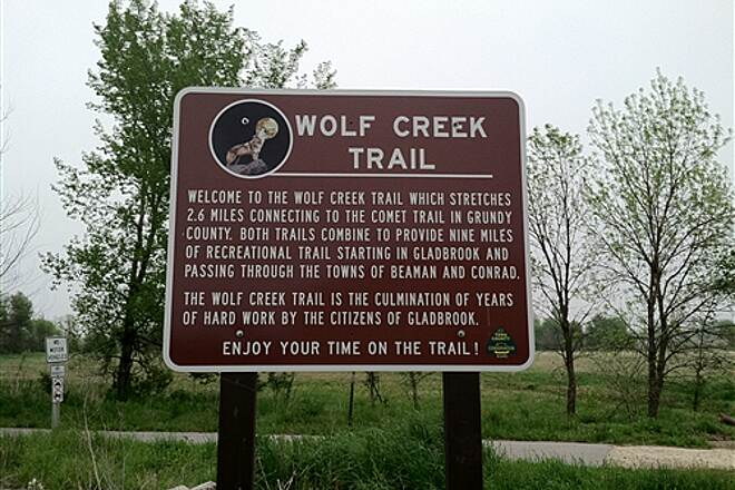 Wolf Creek Trail (IA) Wolf Creek Trailhead Sign Trailhead sign located in Gladbrook.