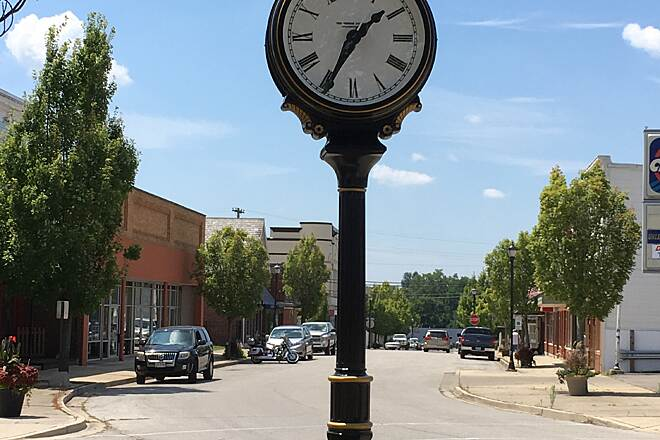 Wolf Creek Trail (OH) Downtown  Old fashion town clock in downtown Brookville (don't see those much anymore).   When I was a kid they were a staple of every small town.