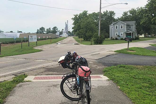 Wolf Creek Trail (OH) Verona, Ohio The northern end of the trail occurs when it reaches Preble County Line Road in Verona, Ohio.  As you can see the old rail line continued northward. August 2019.