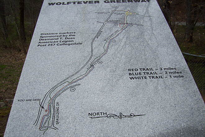 Wolftever Creek Greenway Wolftever Map(in stone) A good map of the greenway made into a granite slab.