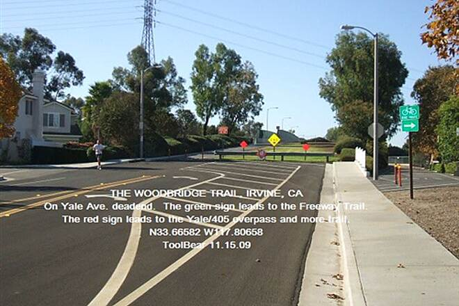 Woodbridge Trail Woodbridge Trail, Irvine, CA. Trail junction with Freeway Trail on Yale Ave. deadend