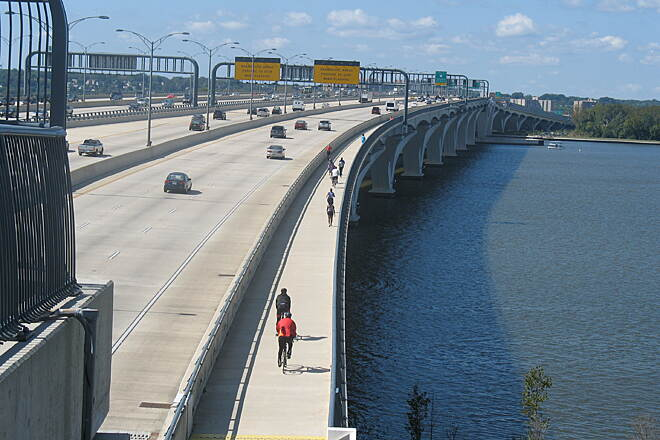 Woodrow Wilson Bridge Trail A Trail on I95!!  Completely safe from traffic!  An amazing urban ride!