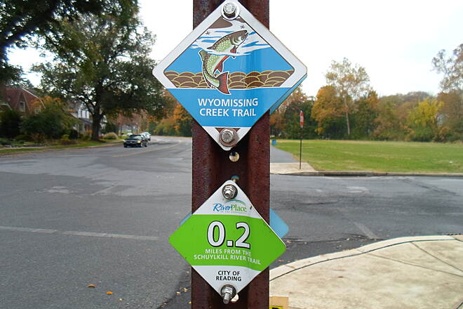 Wyomissing Creek Trail Wyomissing Creek Trail Trail identification and mile marker signs are two nice features of the Reading area's trail network. This was at an intersection on Old Wyomissing Road.