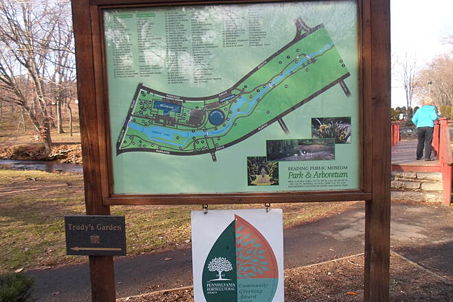 Wyomissing Creek Trail Wyomissing Creek Trail Kiosk featuring map of the arboretum, which the trail bisects.