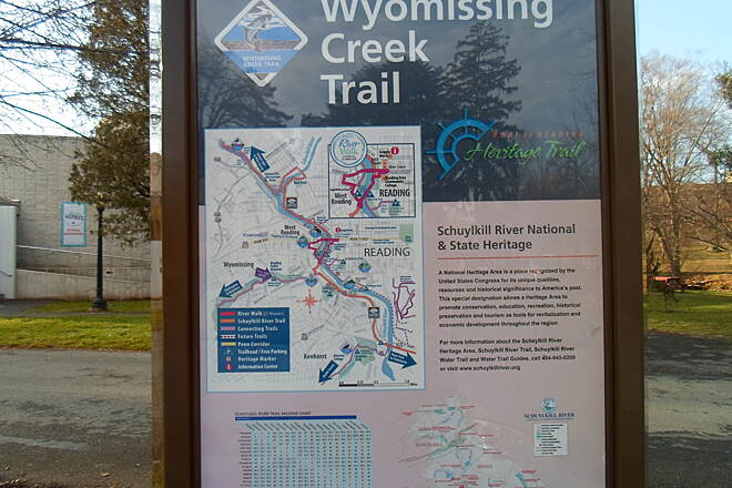 Wyomissing Creek Trail Wyomissing Creek Trail Kiosk detailing the history of the trail, complete with a map showing how it fits in with the larger Greater Reading trail network.