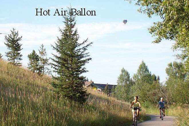Yampa River Core Trail Hot Air Ballons and Cyclist