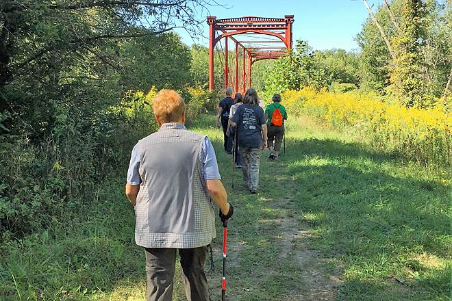 Zoar Valley Trail Zoarville Station Bridge  Members of the Stark Parks hiking group Hike-A-Hundred hiking the Zoar Valley trail. Oct 2016