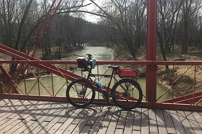 Zoar Valley Trail Conotton Creek Crossing A view from atop the Zoarville Station Fink Through Truss Bridge.  March 2017